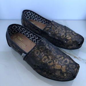 TOMS Gold Leopard Slip On Shoes